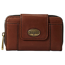 Buy Fossil Explorer Multi-Function Leather Purse, Espresso Online at johnlewis.com