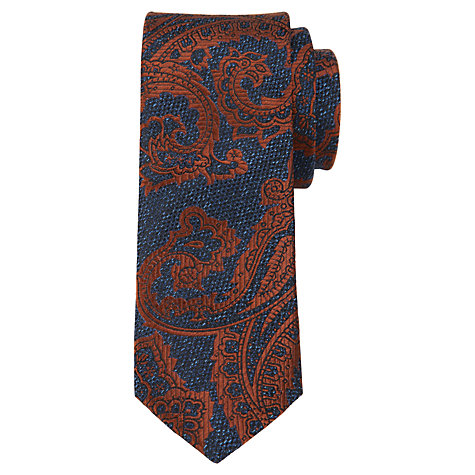 Buy Ted Baker Texture Paisley Tie, Navy/Orange Online at johnlewis.com