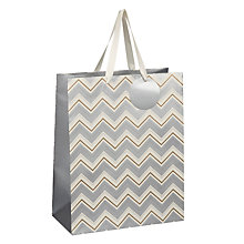 Buy John Lewis Metallic Chevron Gift Bag, Medium Online at johnlewis.com