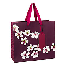 Buy John Lewis Oriental Blossom Gift Bag, Small, Purple Online at johnlewis.com