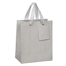 Buy John Lewis Encapsulated Glitter Gift Bag, Silver, Mini Online at johnlewis.com