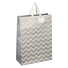 Buy John Lewis Metallic Chevron Gift Bag, Large Online at johnlewis.com