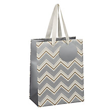 Buy John Lewis Metallic Chevron Gift Bag, Small Online at johnlewis.com