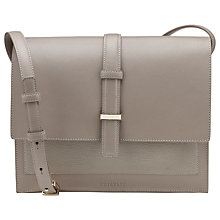 Buy Whistles Heidi Structured Leather Cross body Bag, Grey Online at johnlewis.com