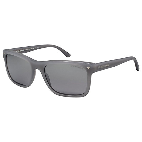 Buy Giorgio Armani AR8028 Rectangular Sunglasses, Brushed Aluminium Online at johnlewis.com