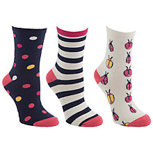 Buy John Lewis Bugs Ankle Socks, Pink/Neutral, 3 Pack Online at johnlewis.com