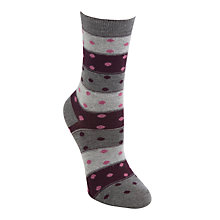 Buy John Lewis Domino Spot Ankle Socks, Grey/Claret Online at johnlewis.com