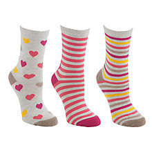 Buy John Lewis Large Hearts Ankle Socks, Pink, 3 Pack Online at johnlewis.com