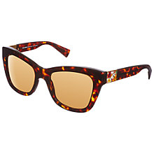 Buy Dolce & Gabanna DG4214 Square Floral Panel Detail Sunglasses, Havana Online at johnlewis.com