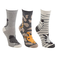 Buy John Lewis Wild Animal Ankle Socks, Grey, 3 Pack Online at johnlewis.com