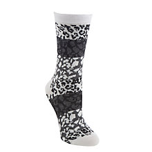 Buy John Lewis Animal Print Ankle Socks, Grey Online at johnlewis.com