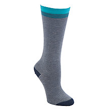 Buy John Lewis Feeder Stripe Knee High Socks, Navy Online at johnlewis.com