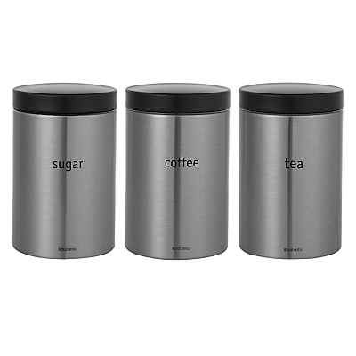 Brabantia Tea, Coffee and Sugar Canisters, Matt Stainless Steel
