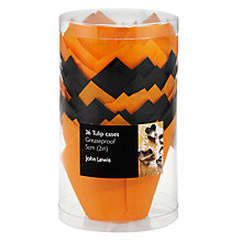 Buy John Lewis Tulip Paper Cupcake Cases, Orange/Black, Pack of 36 Online at johnlewis.com