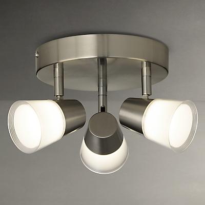 John Lewis Cormack LED Spotlight Plate, 3 Light, Nickel