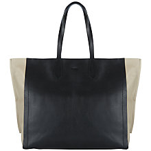 Buy Jaeger Hardy Oversized Leather Tote Bag, Black/Stone Online at johnlewis.com
