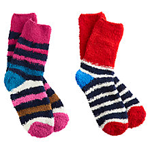 Buy Joules Fluffy Shorties Socks, French Navy, Pack of 2 Online at johnlewis.com