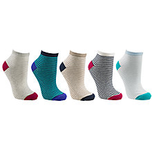 Buy John Lewis Stripe Trainer Socks, Multi, Pack of 5 Online at johnlewis.com