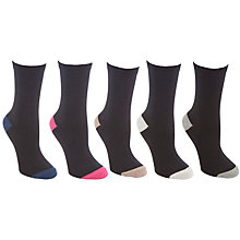 Buy John Lewis Cotton Rich Ankle Socks, Black/Multi. 5 Pack Online at johnlewis.com