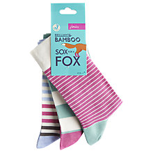 Buy Joules Brill Bamboo Ankle Socks, Grey Multi, Pack of 3 Online at johnlewis.com