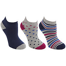 Buy John Lewis Stripe Trainer Socks, Navy/Pink, 3 Pack Online at johnlewis.com