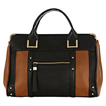 Buy Oasis Triple Compartment Taylor Bag, Black/Tan Online at johnlewis.com