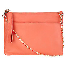 Buy Oasis Stephanie Leather Clutch Bag, Coral Online at johnlewis.com