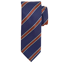 Buy Paul Costelloe Satin Stripe Tie, Navy/Brown Online at johnlewis.com