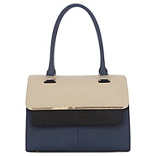 Buy Warehouse Metal Bar Flap Top Tote Handbag, Navy Online at johnlewis.com