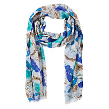 Buy John Lewis Feather Print Scarf, Blue Online at johnlewis.com