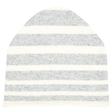 Buy John Lewis Cashmere Stripe Beanie Hat, One Size, Grey/White Online at johnlewis.com