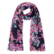 Buy John Lewis Watercolour Floral Rectangular Scarf, Navy Online at johnlewis.com