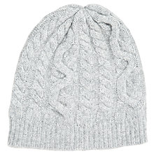 Buy John Lewis Cashmere Cable Beanie Hat, One Size , Grey Online at johnlewis.com