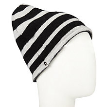 Buy John Lewis Cashmere Stripe Beanie Hat, One Size, Black/Grey Online at johnlewis.com