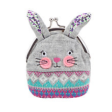 Buy John Lewis Knitted Rabbit Purse, Grey Online at johnlewis.com