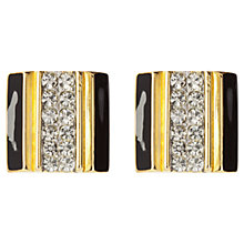 Buy Susan Caplan Vintage 1980s Alexis Kirk Deco Enamel Clip-On Earrings, Gold / Black Online at johnlewis.com