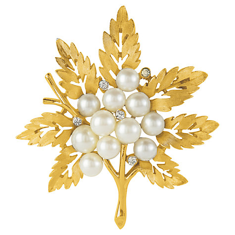Buy Susan Caplan Vintage 1960s Trifari Faux Pearl Cluster Leaf brooch, Gold Online at johnlewis.com