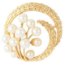 Buy Susan Caplan Vintage 1960s Textured Circle Faux Pearl Brooch, Gold Online at johnlewis.com