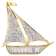 Buy Susan Caplan Vintage 1970s Atwood & Sawyer Sailboat Swarovski Crystal Brooch, Gold Online at johnlewis.com
