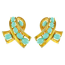 Buy Eclectica 1950s Trifari Faux Turquoise Bow Clip-On Earrings Online at johnlewis.com