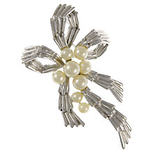 Buy Eclectica 1950s Trifari Faux Pearl Cluster Bow Brooch, Chrome Online at johnlewis.com