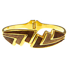 Buy Electica 1980s Gold Plated Leather Hinged Bangle, Brown Online at johnlewis.com