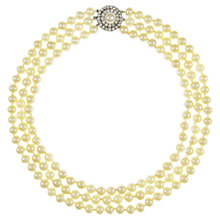 Buy Eclectica 1980s Silver Plated Three Row Faux Pearl Necklace Online at johnlewis.com