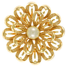 Buy Eclectica 1960s Trifari Faux Pearl Round Brooch, Gold Online at johnlewis.com