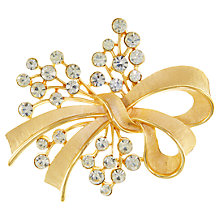 Buy Eclectica 1980s Trifari Bow Round-Cut Crystal Brooch, Gold Online at johnlewis.com