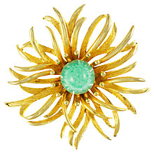 Buy Eclectica 1960s Large Cabochon Centre Flower Brooch, Gold / Green Online at johnlewis.com