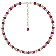 Buy Eclectica 1950s Chrome Plated Octagon Necklace, Cerise Online at johnlewis.com