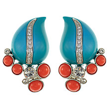 Buy Eclectica Vintage 1980s Kenneth J Lane Large Resin Cluster Clip-On Earrings, Turquoise / Coral Online at johnlewis.com