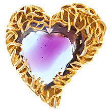 Buy Eclectica 1950s Art Glass Heart Brooch, Purple Online at johnlewis.com