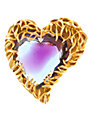 Eclectica 1950s Art Glass Heart Brooch, Purple